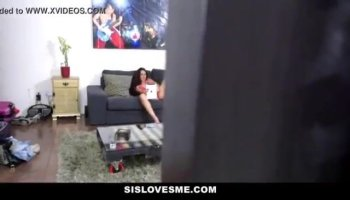 Beautiful blonde riding long schlong on couch